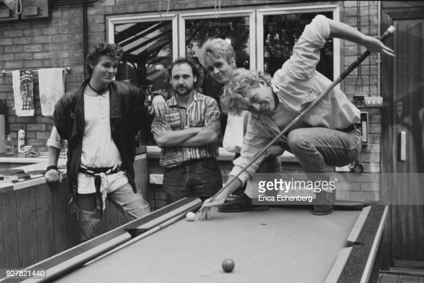 AHa with producer Tony Mansfield at Eel Pie Studios during the making of their first album Twickenham London 1984 LR Morten Harket Tony Mansfield Pal...