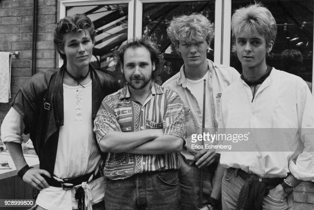 AHa with producer Tony Mansfield at Eel Pie Studios during the recording of their first album Twickenham London 1984 LR Morten Harket Tony Mansfield...