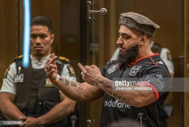 Ahad Nabi whose father Haji Daoud Nabi was killed in Al Noor mosque by Australian white supremacist Brenton Tarrant gestures towards Tarrant on...