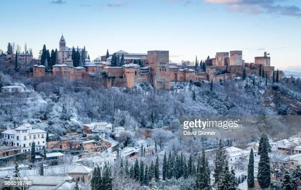 ahambra during winter in granada, spain. - granada spain stock pictures, royalty-free photos & images