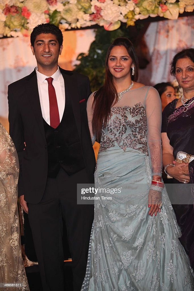 Ahana Deol and Vaibhav Vohra during their wedding reception on February 5, 2014 in New Delhi, India. Ahana, a budding Odissi dancer, is the daughter of Bollywood stars Dharmendra and Hema Malini while Vaibhav in an Indian businessman. They married on February 2, 2014 in Mumbai.