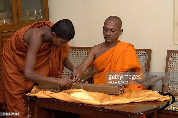 Ahangama Sri Lanka in December 2004 Budhist documents 1400 AC in the monastery of Ahangama
