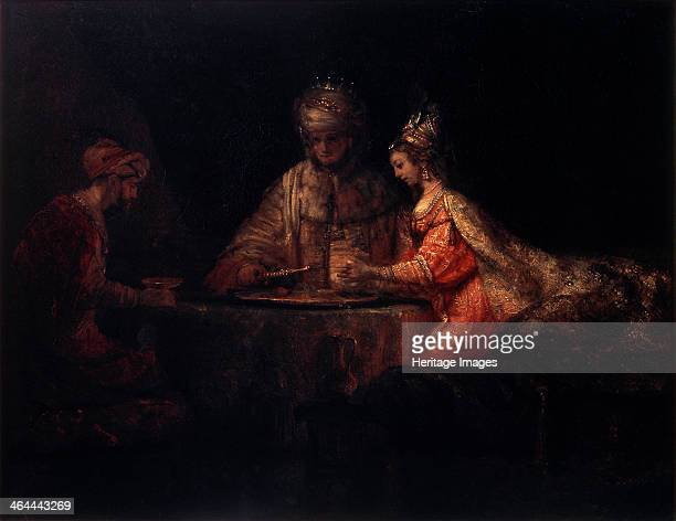 'Ahasuerus Haman and Esther' 1660 Rembrandt van Rhijn Found in the collection of the State A Pushkin Museum of Fine Arts Moscow