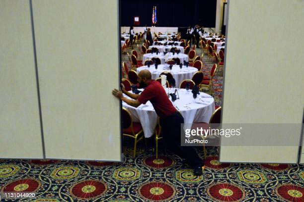 Ahead of a keynote speech by Joe Biden preparations are made ahead of the First State Democratic Dinner at the Rollins Center in Dover DE on March 16...
