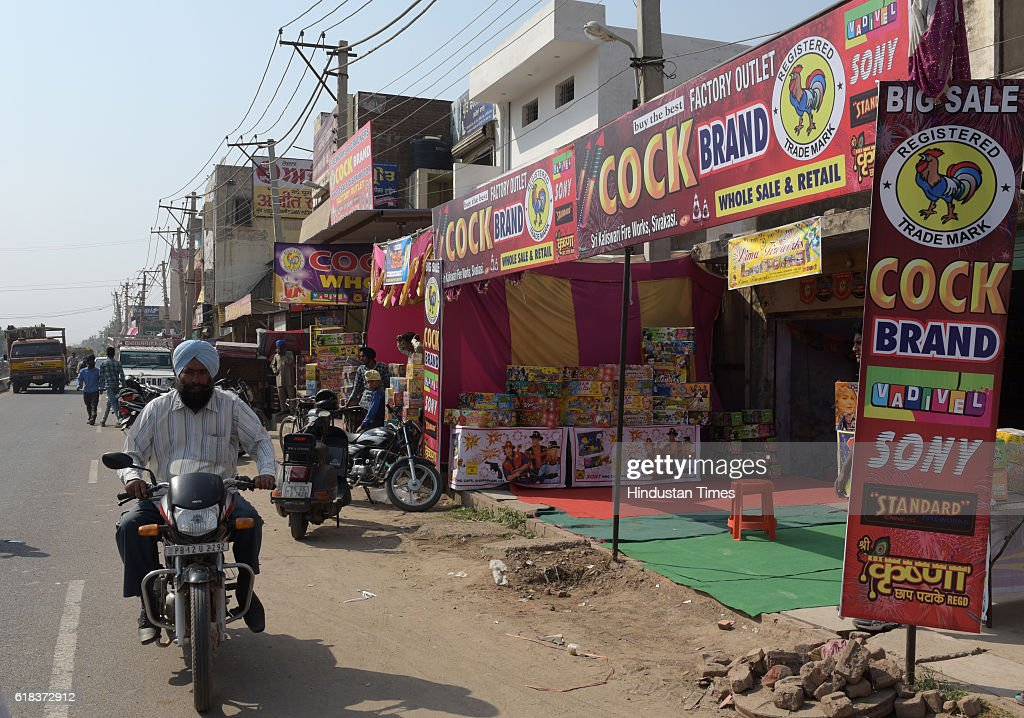 Ahead of Diwali crackers on sale at cracker market at Kurali on October 26 2016 in Chandigarh India Diwali is the major festivals of Hinduism It...