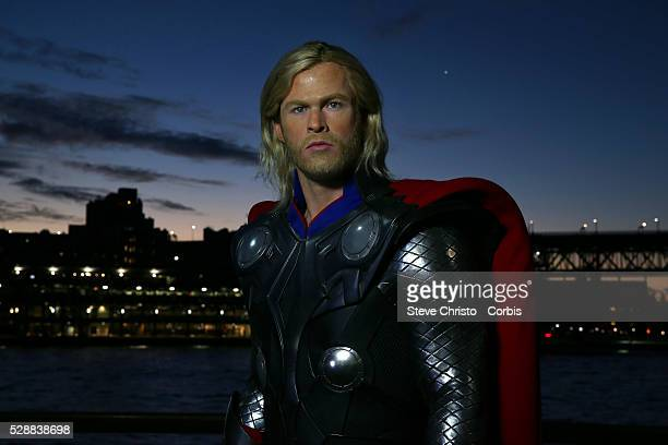 Ahead of the launch of the latest The Avengers movie from global phenomenon Marvel the wax figure of demi god Thor modelled by Australian Chris...