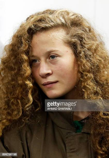 Ahed Tamimi a prominent 16yearold Palestinian campaigner against Israel's occupation appears at a military court at the Israelirun Ofer prison in the...