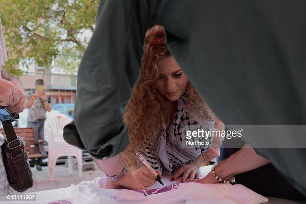 Ahed Tamimi during the FiestaPCE18 in a great act of solidarity with Palestine in Madrid on 29th September 2018 Ahed Tamimi to take part in the...