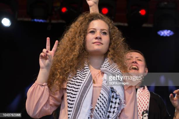 Ahed Tamimi seen making a sign of peace during the tour Ahed Tamimi on her European tour during the Spanish Communist festivities Party She is an...