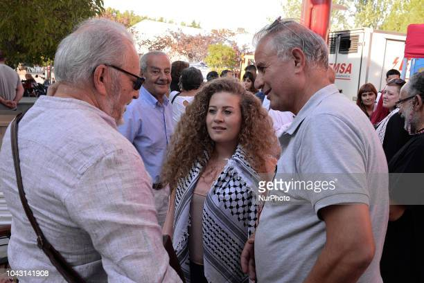Ahed Tamimi with Julio Anguita during the FiestaPCE18 in a great act of solidarity with Palestine in Madrid on 29th September 2018 Ahed Tamimi to...