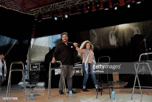 Ahed Tamimi with Manu Abu Carlos during the FiestaPCE18 in a great act of solidarity with Palestine in Madrid on 29th September 2018 Ahed Tamimi to...
