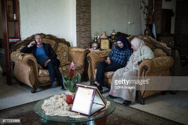Ahed Tamimi's father in his home in Nabi Salih and his family Ahed Tamimi has been in prison since December 2017 she is a teenage activist in...