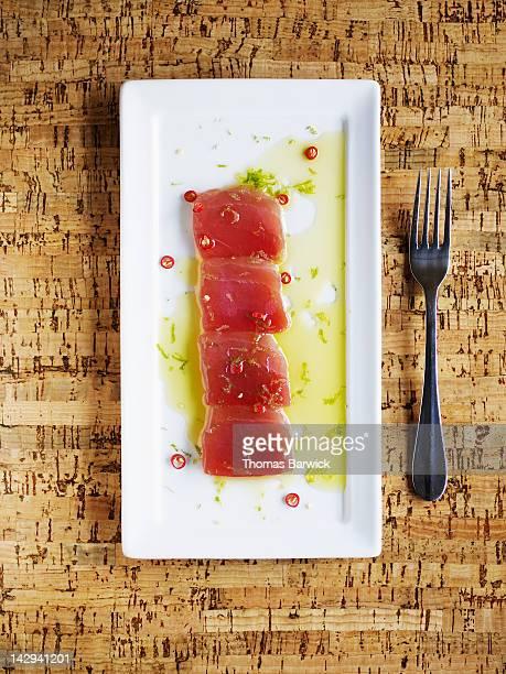 ahi tuna crudo - yellowfin tuna stock photos and pictures