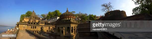 Ahilya Fort 360 view from top, at Narmada Ghats, Maheshwar, India