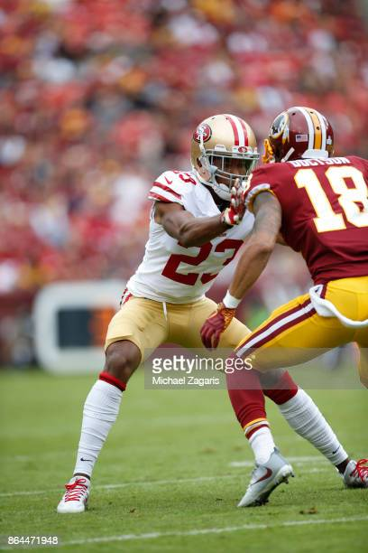 Ahkello Witherspoon of the San Francisco 49ers defends during the game against the Washington Redskins at FedEx Field on October 15 2017 in Landover...