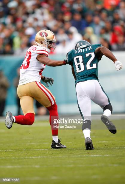 Ahkello Witherspoon of the San Francisco 49ers defends during the game against the Philadelphia Eagles at Lincoln Financial Field on October 29 2017...