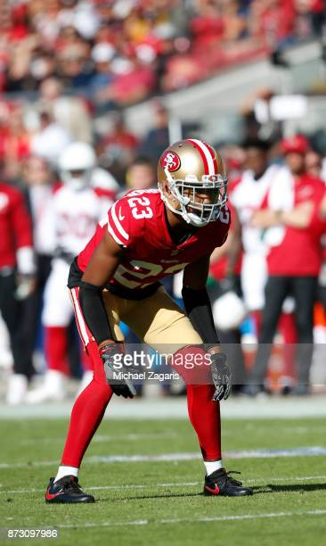 Ahkello Witherspoon of the San Francisco 49ers defends during the game against the Arizona Cardinals at Levi's Stadium on November 5 2017 in Santa...