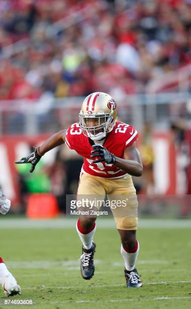 Ahkello Witherspoon of the San Francisco 49ers defends during the game against the New York Giants at Levi's Stadium on November 12 2017 in Santa...