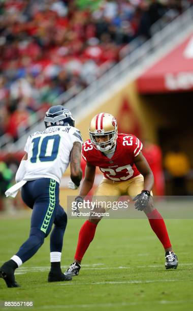 Ahkello Witherspoon of the San Francisco 49ers defends during the game against the Seattle Seahawks at Levi's Stadium on November 26 2017 in Santa...