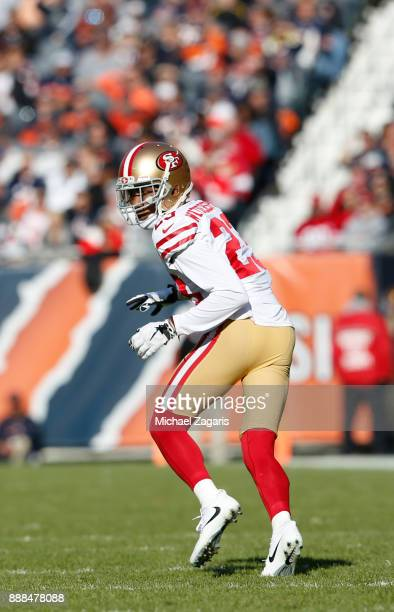 Ahkello Witherspoon of the San Francisco 49ers defends during the game against the Chicago Bears at Soldier Field on December 3 2017 in Chicago...
