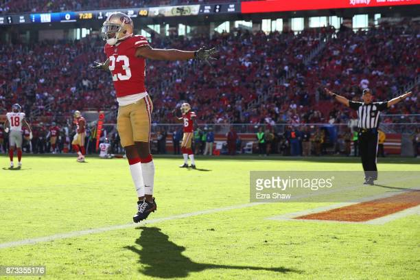 Ahkello Witherspoon of the San Francisco 49ers reacts after defending a pass against the New York Giants during their NFL game at Levi's Stadium on...