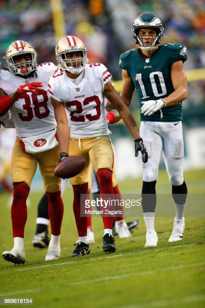 Ahkello Witherspoon of the San Francisco 49ers stands on the field after intercepting a pass during the game against the Philadelphia Eagles at...