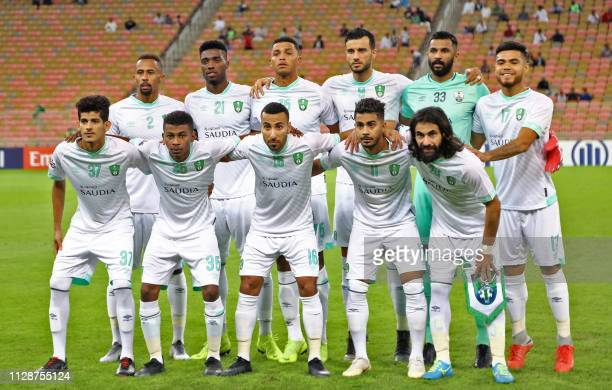Ahli's defender Saeed AlMowalad forward Djaniny defender Aderlan forward Omar Al Somah goalkeeper Mohammed AlOwais defender Paulo Diaz defender...
