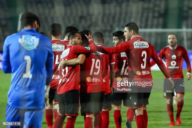 Ahly players celebrate their goal during the Egypt Premier League Fixtures 17 match between Al Ahly and Zamalek at the Cairo Stadium in Egypt on...