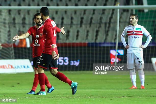 Ahly players celebrate their second goal during the Egypt Premier League Fixtures 17 match between Al Ahly and Zamalek at the Cairo Stadium in Egypt...