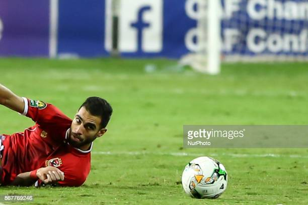 Ahly's Defender Ahmed Fathi reacts during the CAF Champions League final football match between AlAhly and Wydad Casablanca at the Borg El Arab...