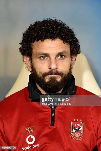 Ahly's Egyptian midfielder Hossam Ghaly looks on during the Egyptian Premier League football match between AlAhly and Zamalek at Petrosport Stadium...