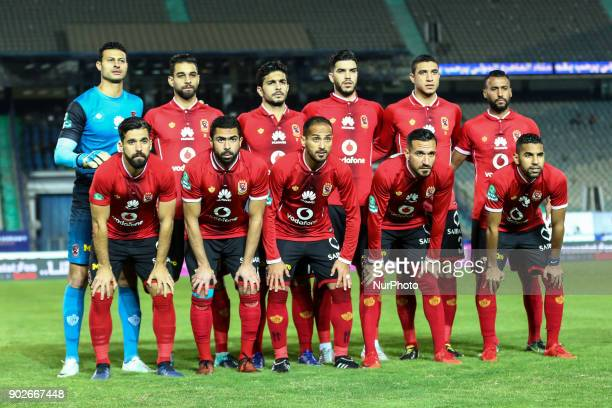 Ahly's first eleven pose for a team photo prior during the Egypt Premier League Fixtures 17 match between Al Ahly and Zamalek at the Cairo Stadium in...