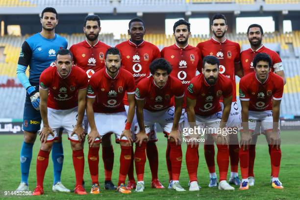 Ahly's first eleven pose for a team photo prior during the Egypt Primer League Fixtures 22 Match Between AlAhly and Alittihad in Borg Alarab stadium...