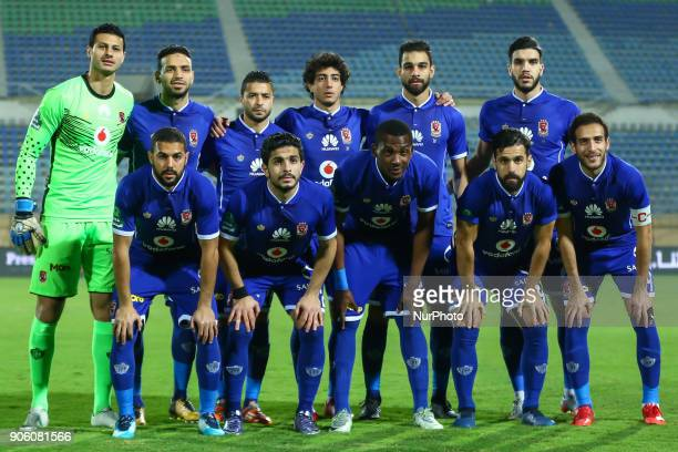 Ahly's team first eleven pose for a team photo prior during the Egypt Primer League Fixtures 18 Match Between AlAhly and AlGish in Cairo on 16...