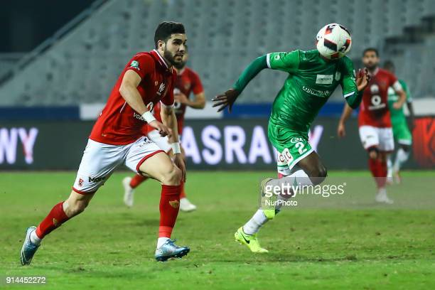 Ahly's Walid Azaro in Action with AlIttihad Player during the Egypt Primer League Fixtures 22 Match Between AlAhly and Alittihad in Borg Alarab...