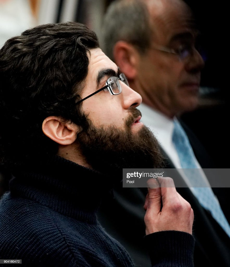 Ahmad A., 26, arrives for the first day of his trial on charges of murder at the Oberlandesgericht courthouse on January 12, 2018 in Hamburg, Germany. Ahmad A., who is Palestinian, is accused of having stabbed to death one person and wounding six others in an EDEKA supermarket in Hamburg Barmbek in July, 2017. Ahmad A. is suspected to have a radical background and is classified as mentally unstable, Hamburg Interior Senator Andy Grote announced 29 July 2017.