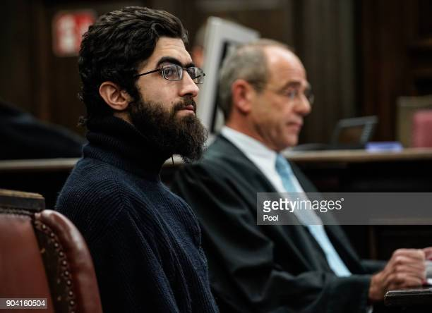 Ahmad A arrives for the first day of his trial on charges of murder at the Oberlandesgericht courthouse on January 12 2018 in Hamburg Germany Ahmad A...
