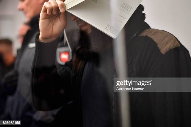 Ahmad Abdulaziz Abdullah A also known as Abu Walaa arrives for the first day of his trial on terror charges at the Oberlandesgericht Celle courthouse...