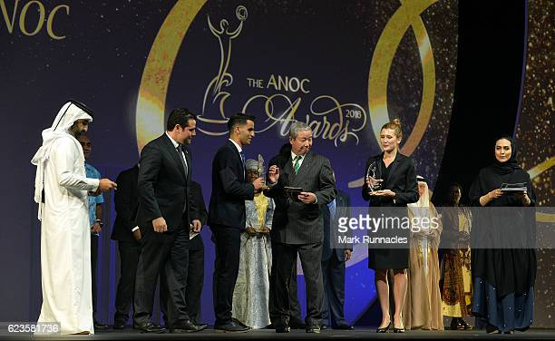 Ahmad Abughaush accepts the Breakthrough NOCs of Rio 2016 award on behalf of the Jordan NOC presented by Zaiqing Yu ANOC VicePresident for Asia...