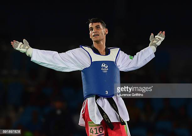 Ahmad Abughaush of Jordan celebrates victory over Joel Bonilla Gonzalez of Spain during the Mens 68kg Taekwondo semi final contest at Cairoca Arena 3...