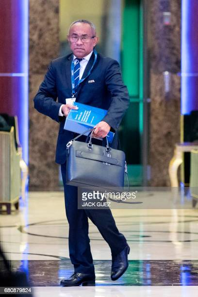 Ahmad Ahmad President of the African Confederation of Football CAF leaves a meeting of the FIFA council in Manama on May 9 2017 A fivehour long...