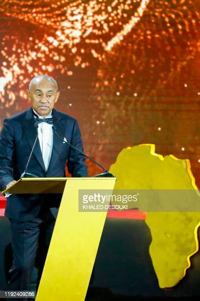 Ahmad Ahmad President of the Confederation of African Football speaks during the 2019 CAF Awards in the Egyptian resort town of Hurghada on January 7...