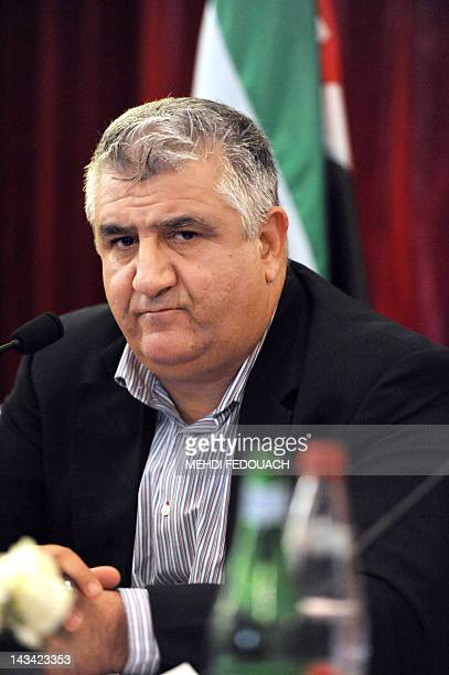 Ahmad AlAshquar is pictured during a press conference by son of a former Syrian Prime minister Maarouf Al Dawalibi Nofal Al Dawalibi on April 26 2012...