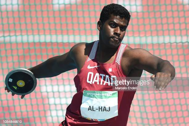 Ahmad Alhaj of Qatar competes in Men's Discus Throw 15kg Stage 2 on day 8 of Buenos Aires 2018 Youth Olympic Games at Youth Olympic Park Villa...