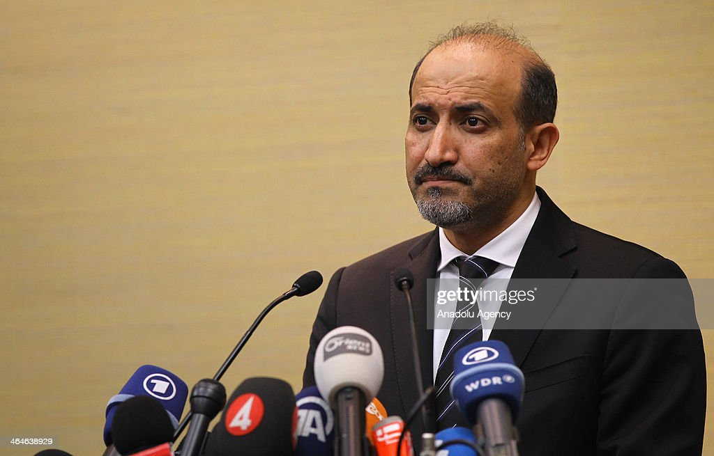 Ahmad al-Jarba, leader of the Syrian National Coalition (SNC), Syria's main political opposition group, speaks during a press conference in Geneva, Switzerland, January 23, 2014. Al-Jarba announced that the Syrian peace talk negotiations will be difficult.