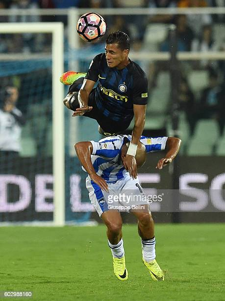 Ahmad Benali of Pescara Calcio and Jeison Murillo of FC Internazionale in action during the Serie A match between Pescara Calcio and FC...