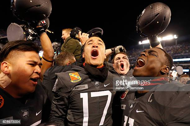 Ahmad Bradshaw of the Army Black Knights celebrates after defeating the Navy Midshipmen 2117 at MT Bank Stadium on December 10 2016 in Baltimore...