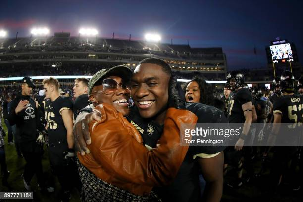 Ahmad Bradshaw of the Army Black Knights celebrates with his mother Kizzy Collins after the Army Black Knights beat the San Diego State Aztecs 4235...