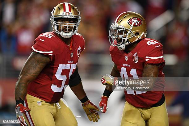 Ahmad Brooks and Antoine Bethea of the San Francisco 49ers celebrate after a sack during their NFL game against the Los Angeles Rams at Levi's...