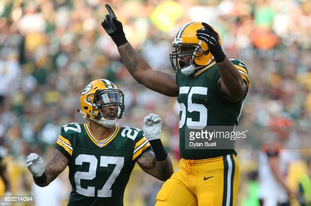 Ahmad Brooks of the Green Bay Packers reacts after a sack during the third quarter against the Cincinnati Bengals at Lambeau Field on September 24...